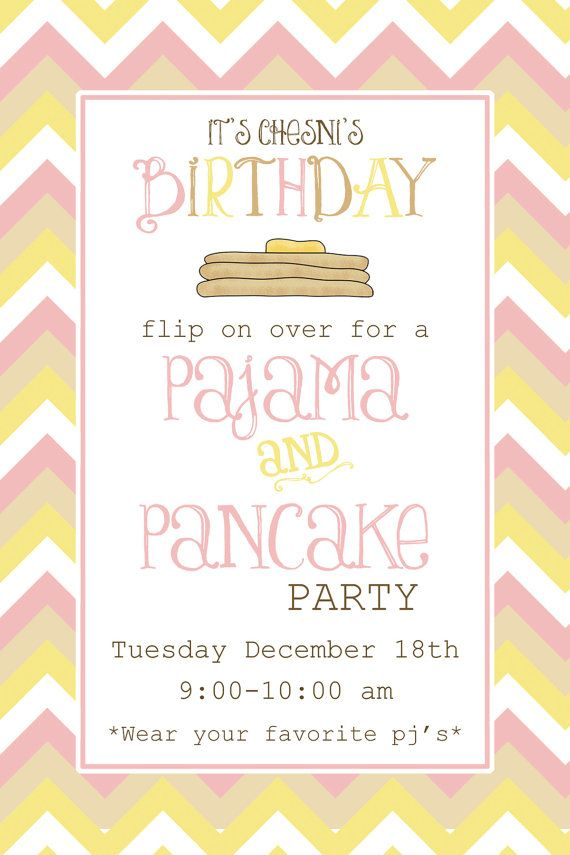 Chevron Pancake & Pajama party invitation on Etsy, $12.99