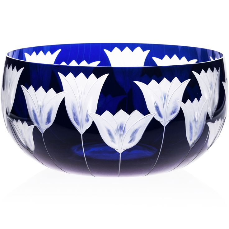 BLUE | Handmade Glass Blown Fruit Bowl, Tulipa-Blue 5090, height: 110 mm | widest diameter: 220 mm | Bohemian Crystal | Crystal Glass | Luxurious Glass | Hand Engraved | Original Gift for Everyone | clarescoglass.com
