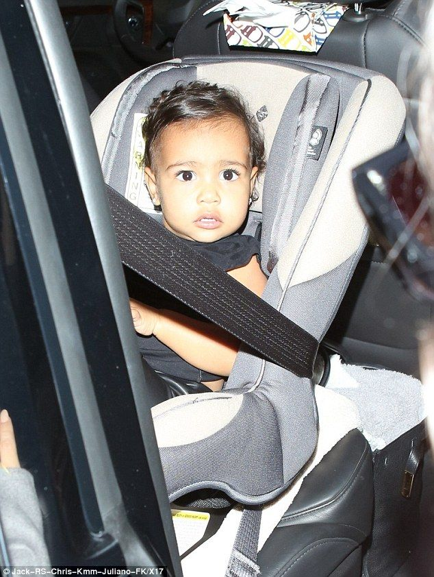 Mom's little jet setter: She was joined by her gorgeous daughter North West, who was ready for a nap