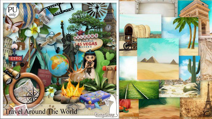 kit travel around the world by kittyscrap - $2.61 : ScrapBird!, source for…