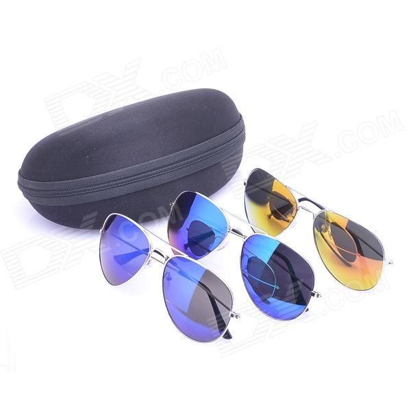 Stylish Sunblock Sunglasses Goggles - Green + Blue + Red (3 PCS)