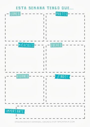 Organizador semanal para imprimir