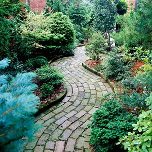 winding brick path through the garden