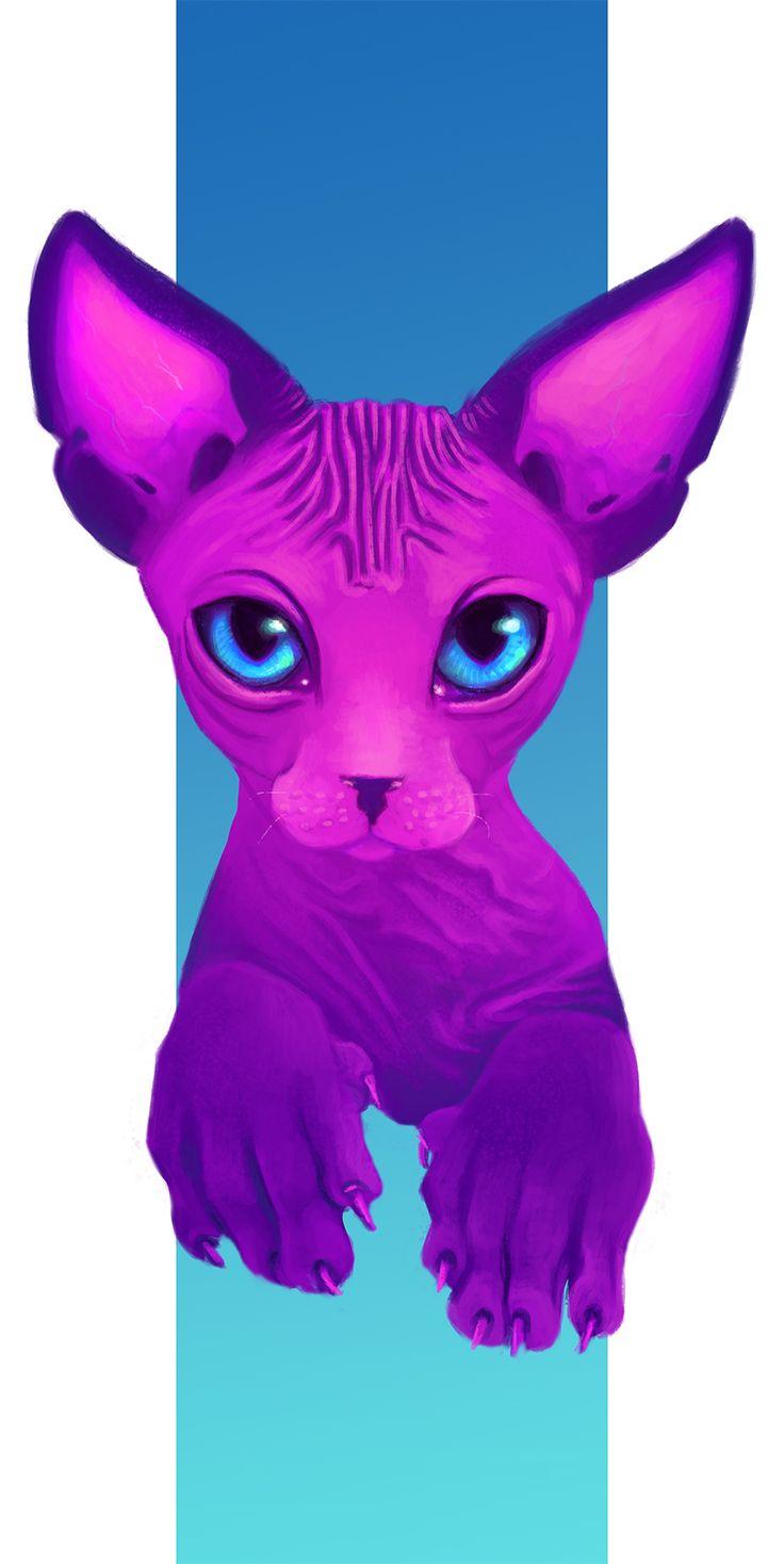 Purple cat by Odrobinka.deviantart.com on @DeviantArt