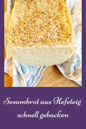 Rezept für Sesambrot aus Hefeteig. Das Brot ist schnell zu backen und schmeckt auch als Mohnbrot oder anderer Körnerbrot. #brot #backen #frühstück