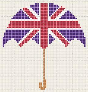 Pays - country - angleterre parapluie - point de croix - cross stitch - Blog : http://broderiemimie44.canalblog.com/