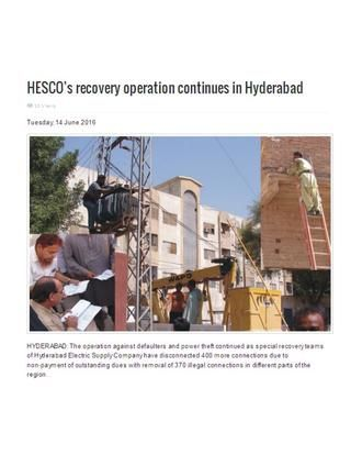 HYDERABAD: The operation against defaulters and power theft continued as special recovery teams of Hyderabad Electric Supply Company have disconnected 400 more connections due to non-payment of outstanding dues with removal of 370 illegal connections in different parts of the region.