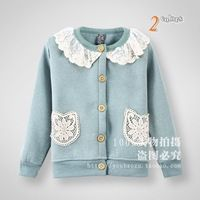 2013 Brand new design kids cotton knitted sweater girls Spring/Autumn cute lace floral cardigans/knitwear