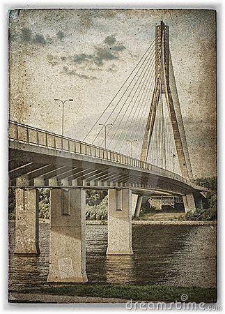 Swietokrzyski bridge on Vistula river in Warsaw (Poland). Treated like an old postcard or damaged photograph.