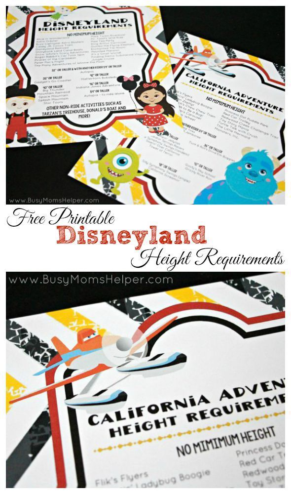 Free Printable Disneyland Height Requirements / by Busy Mom's Helper / Free Printable California Adventure Height Requirements disneyland #disney #disneyland