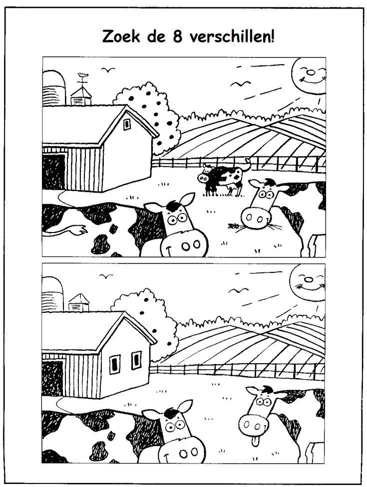 Zie jij de 8 verschillen? Op deze manier geef je op een leuke manier les aan kleuters en peuters. #cow #koe