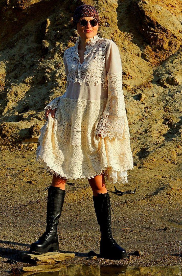Купить Платье в стиле БОХО. Лен и хлопок - платье бохо, стиль бохо, одежда бохо