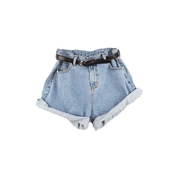 Roll Up Denim Shorts (180 BRL) ❤ liked on Polyvore featuring shorts, bottoms, pants, short, roll up shorts, short jean shorts, rolled denim shorts, denim short shorts and checked shorts