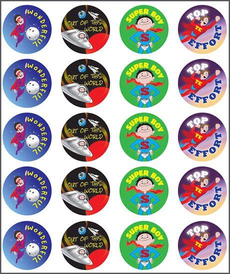 Stickers Super Boy. Superhero. Wonderful, out of this world, top effort. Teacher sticker pack. Contains 100 sticker. Merit award.