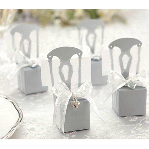 100 PZ Sedia D'argento a forma di Regalo Nozze Partito Matrimonio Bomboniera Caramella con Nastro Bow Ciondolo
