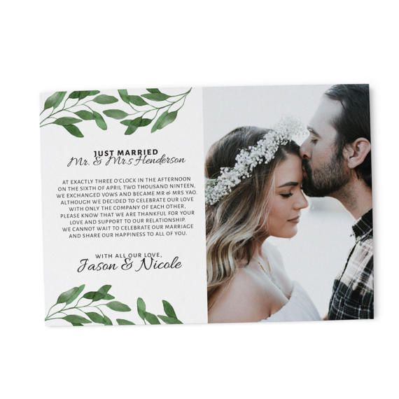 *Personalized elopement announcement card -> during checkout please leave your cards content on the note to seller section OR message for the details  *Printed on a 5 x 7, 110lb white matte cardstock  *Handmade with love in Sunnyvale California USA  *Proof to approve before printing  *Envelopes are NOT included but you can buy them from us! Link below:   ENVELOPES FOR SALE https://www.etsy.com/listing/491457262/wedding-envelopes-invitations-a7?ref=shop_home_a...
