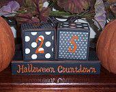 Halloween Countdown Wood Blocks Distressed Wood Blocks, Halloween Decor