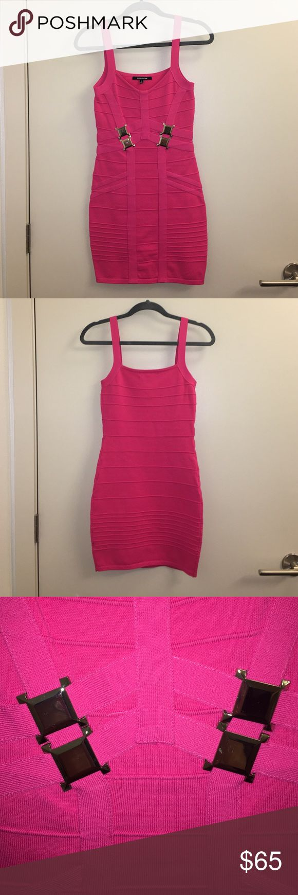 Sexy hot pink bandage dress, silver buckle detail Sexy, short, hot pink bandage dress with silver buckle detail. Size SMALL, only worn a few times. WOW couture Dresses