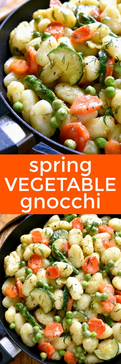 This Spring Vegetable Gnocchi is creamy, delicious, and perfect for spring! It's loaded with the BEST spring vegetables and comes together in under 20 minutes. Perfect for busy weeknights....and believe it or not, it's dairy free!