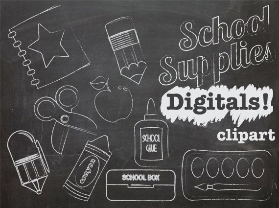 Chalk Clip art School Supplies, INSTANT DOWNLOAD, chalk ...