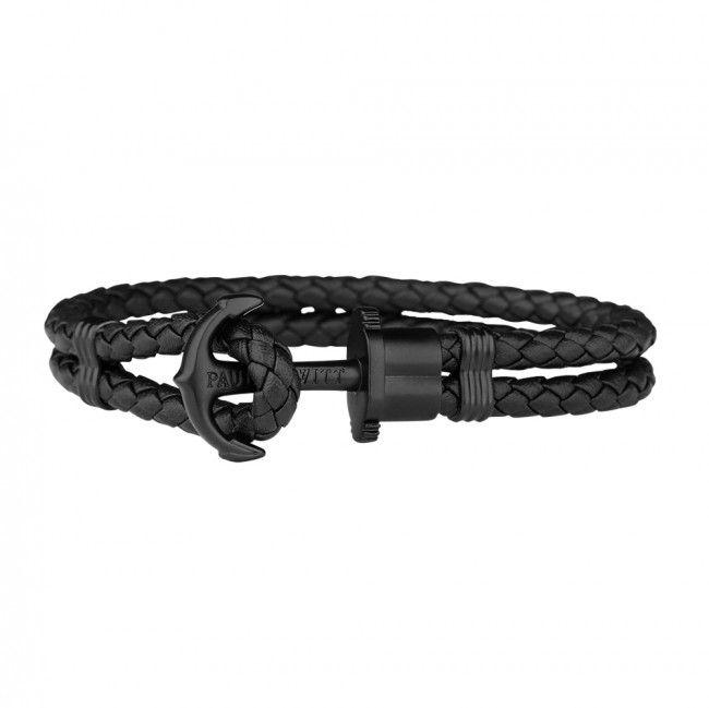 """Βραχιόλι Anchor PHREP IP Leather Black Black PH-PH-L-B-B-L Βραχιόλι """"PHREP"""" Paul Hewitt από συνθετικό δέρμα σε χρώμα μαύρο και άγκυρα από μαύρο ανοξείδωτο ατσάλι στο κούμπωμα."""