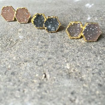 Semi Precious Crystal Stud Earrings
