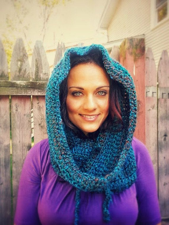Blue crochet infinity hooded cowl neck warmer ships by SkyBlue2013