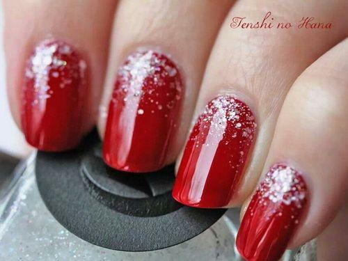 Uñas rojas con escarcha , Red nails