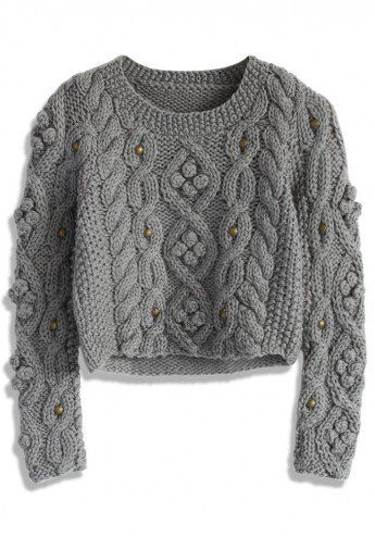 Retro Cozy Up Woolen Sweater in Grey