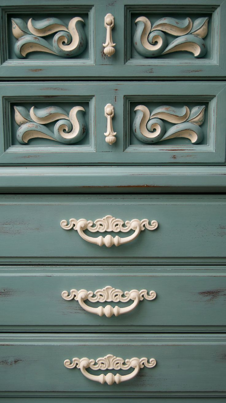 "Even with an old mediterranean chest with plastic ""carvings"", perhaps color is the solution :: Annie Sloan"