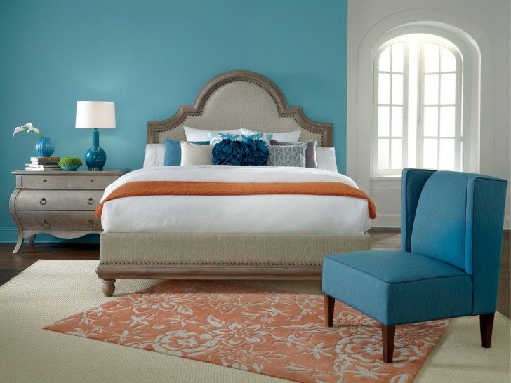 Bedroom:How To Pick The Best Bedroom Accent Wall Colors Bright Bedroom Design With Light Blue Accent Wall Color And Orange Floral Rug Ideas