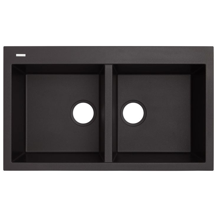 """34"""" Townsend Double-Bowl Drop-In Granite Composite Sink - Black"""