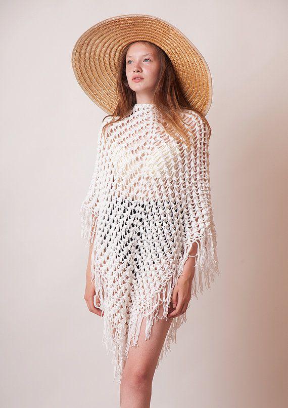 Boho crochet poncho white cotton tunic women knitwear by beWoolen