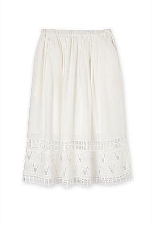 Embroidered Hem Detail Skirt