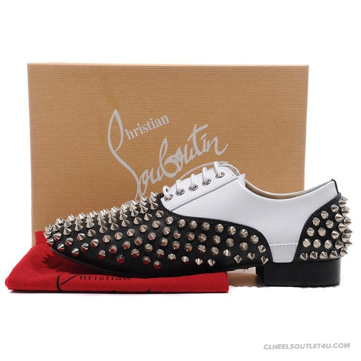 Christian Louboutin Fred Spikes Mens Flat Shoes White Black