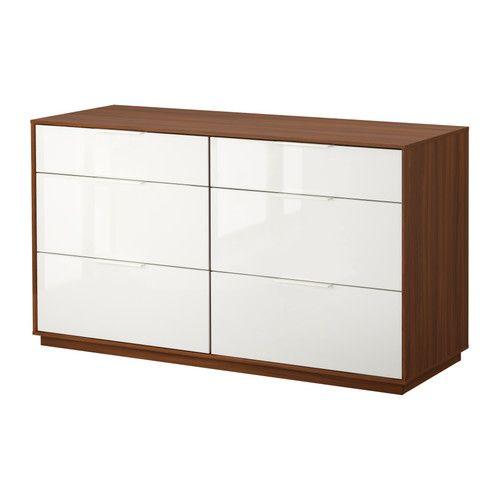 NYVOLL 6-drawer dresser - medium brown/white  - IKEA