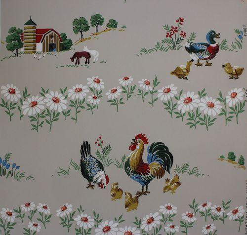 1940's Barnyard Chickens & Ducks Vintage Wallpaper