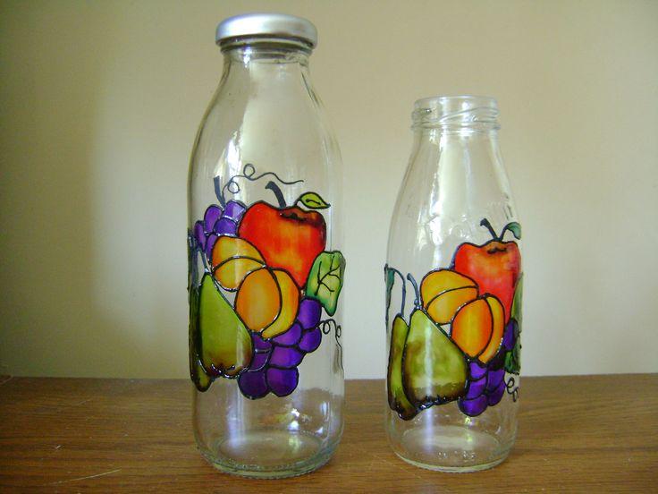 Botellas con técnica falso vitral