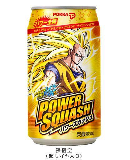 JAPON - Power Squash, c'est une célèbre boisson énergétique Japonaise, au goût pouvant se définir comme une sorte de Red Bull saveur orange. Elle s'achète principalement sous forme de canette, en distributeur automatique. C'est la marque Pokka qui commercialise cette boisson, et qui utilise à nouveau la licence Dragon Ball pour booster les ventes de…