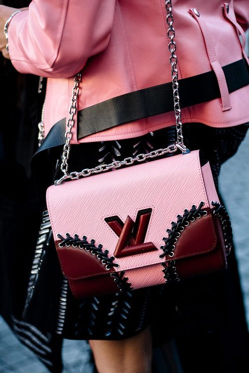 Louis Vuitton Twist Lock bag in Pink and Maroon Leather