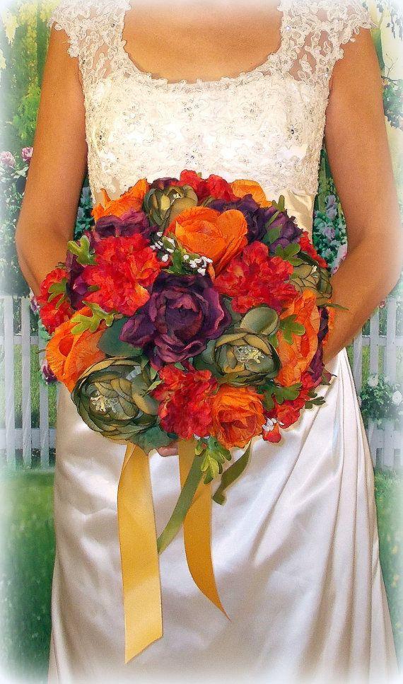 Fall Wedding Bouquet, Autumn Bridal Flowers, Purple Sage Orange bouquet, November wedding, Faux Flowers Keepsake Bouquet, Ready to Ship!