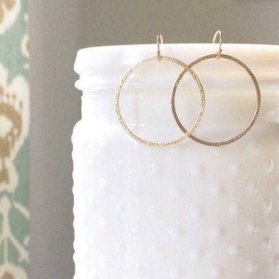 Simple Gold Circle Earrings Minimal Earrings by daintydoejewelry