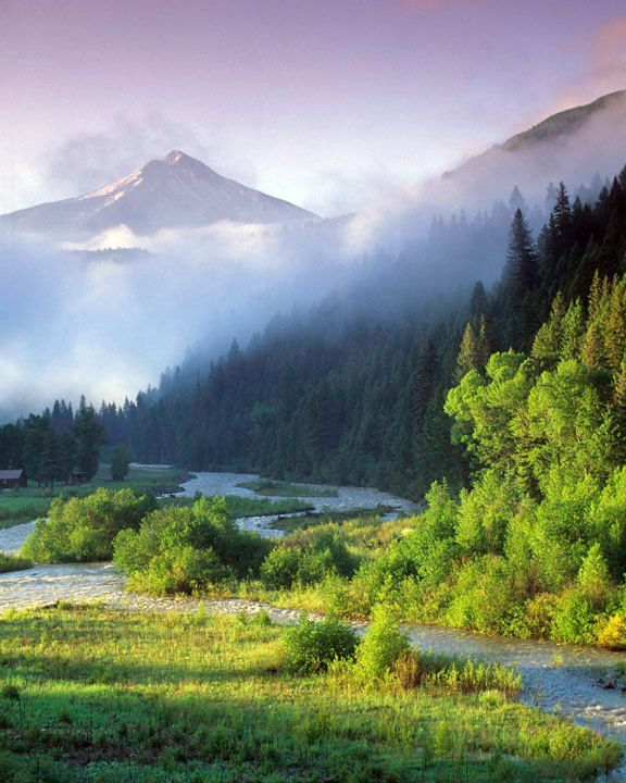 Mountain Morning - photograph spring landscape photo river dawn wilderness rockies montana wyoming sunrise fog clouds. $30.00, via Etsy.