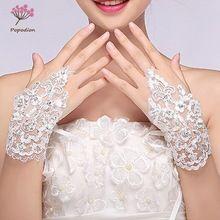 Branco frisado laço nupcial luvas sem dedos luvas de mulher luvas de casamento acessórios luvas de casamento para noivas WAS10002(China)