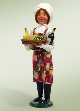 chef, wine, cheese, cook, caroler figurine, byers choice, christmas, caroling