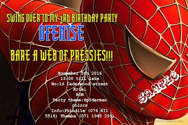 Card: Spiderman Birthday Invitations Head