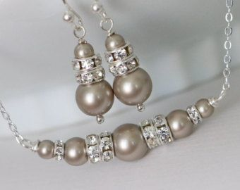Regalo personalizado de Dama de honor, platino Swarovski Set pendientes y collar de perlas, de Dama de honor regalo, conjunto de joyería de Dama de honor, Dama de Honor Don