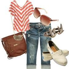 capris outfits..(I LIKE SOME ELEMENTS OF THIS...RED AND WHITE STRIPS, CAPRIS AND WHITE TENNIES. sd)