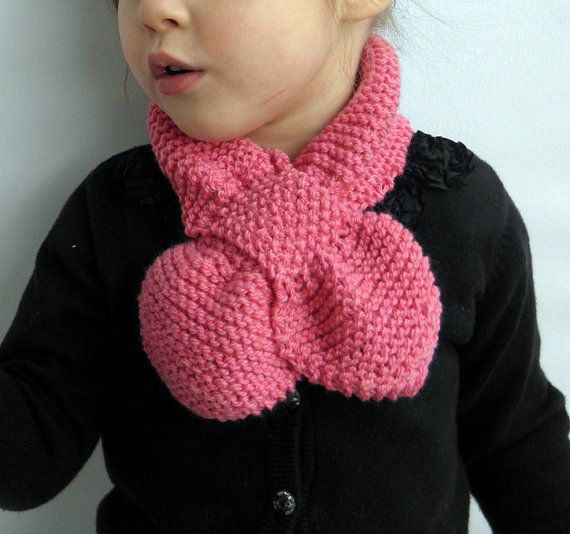 Hand knit baby/toddler/childs scarf - Very cute bow-knot style in Zinnia Pink