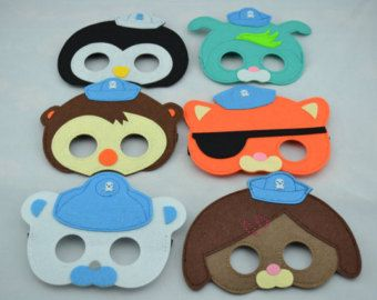 Octonauts Felt Masks - Birthday Party Favor. Great for Kids Boy Girl Child Toddler Superhero Costume Outfit. Kwazi Peso Dashi Tweak